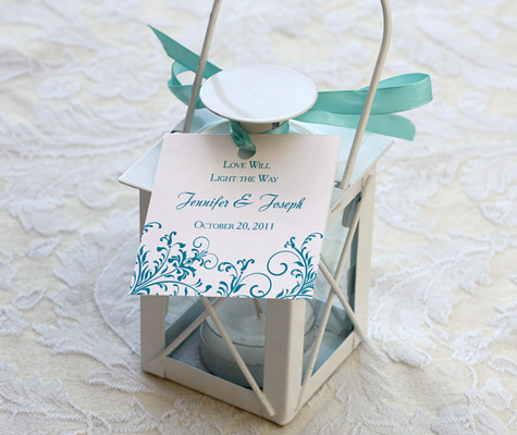 favor tag on tea light holder