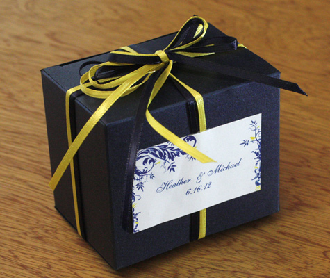Match your wedding color with your guest favor boxes and then add a