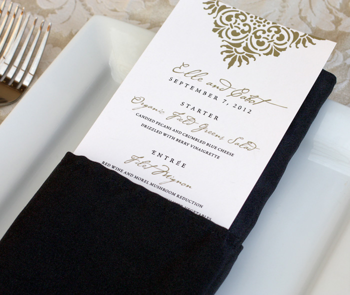 Wedding Dinner Menu With Gold Black Victorian Lace Motif
