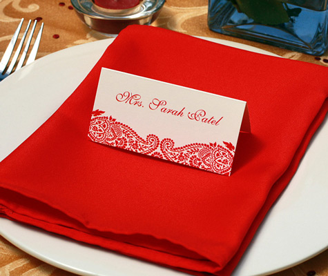place card in holder at wedding reception
