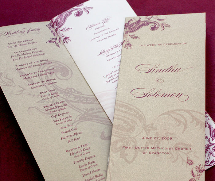 Merlot Mauve Printed Multi Page Folded Wedding Ceremony Program With Paisley