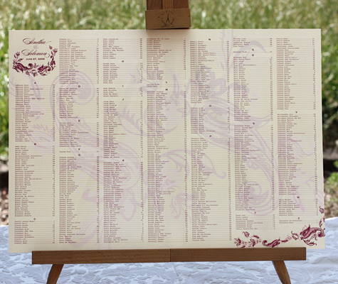 A seating chart is a great way to inform people of where to go Wedding
