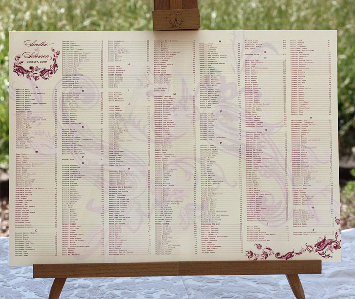 Wedding Reception Seating Charts  Letterpress Wedding Invitation Blog